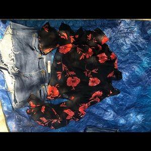 Sz small sheer long sleeves blouse and shorts